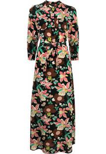 Aspesi Vestido Longo De Seda Com Estampa Floral - Preto