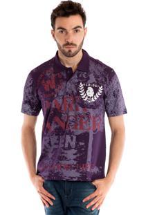 Camisa Polo Konciny Manga Curta Roxo