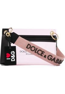 Dolce & Gabbana Bolsa Transversal Com Transparência E Logo - Rosa