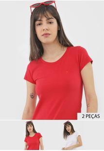 Kit 2Pçs Camiseta Polo Wear Logo Branco/Vermelho