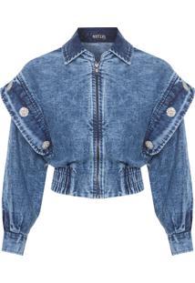 Jaqueta Feminina Jeans Botões - Azul