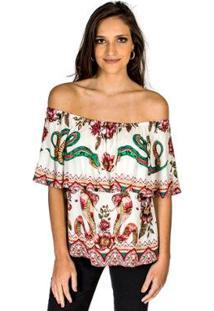 Blusa Estampada Snake Garden Colcci - Feminino-Branco