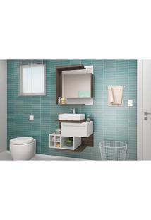 Conjunto Para Banheiro Lisboa Celta Móveis Nogal Sevilha / Branco
