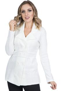Kimono Cardigan Tricô Frio Trench Coat Off White Tam.Único