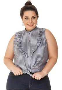 Regata Plus Size Com Babado Listrado Miss Masy Plus - Feminino-Cinza