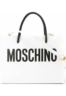 Moschino Bolsa Tote De Couro Com Logo - Branco