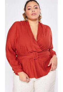 Blusa Almaria Plus Size Pianeta Transpassada Verme