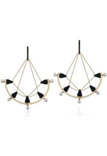 Brinco Ropes Amarelo C/ Perola/Qtzo Negro /Diam.Ttlb