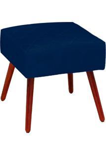 Puff Decorativo Silmara Suede Azul Marinho Pés Palito - D'Rossi