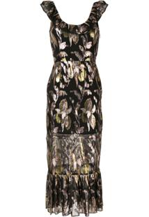 We Are Kindred Vestido Midi Floral Harlow - Preto