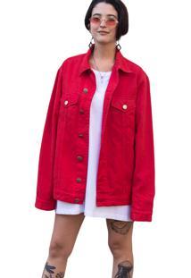 Jaqueta Jeans Lab77 Vermelha