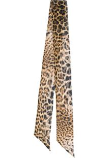 Saint Laurent Echarpe Animal Print - Marrom