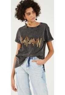 Camiseta Estonada Com Inscriã§Ã£O Metalizada - Preta & Doupop Up