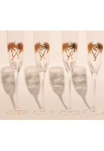 Jogo De Taças Champagne Coqueiro Gold