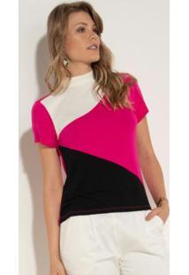 Blusa Quintess Com Gola Alta E Recortes Pink