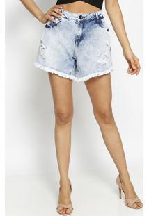 Bermuda Jeans Com Botã£O - Azul Claro - Morena Rosamorena Rosa