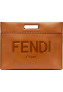 Fendi Clutch Com Logo Gravado - Marrom