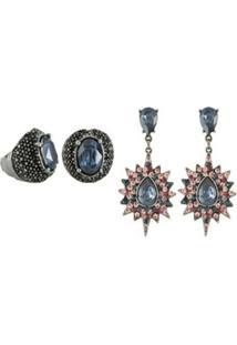 Conjunto Armazem Rr Bijoux Brinco E Anel Cristal Azul Rosa