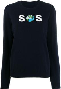 Stella Mccartney Suéter Com Bordado Sos - Azul