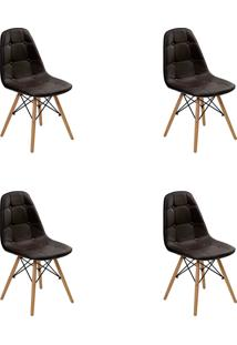 Kit 04 Cadeiras Eiffel Botone S/ Braço Marrom Rivatti