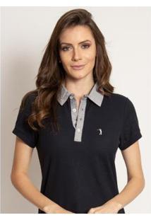 Camisa Polo Aleatory Lisa Way Feminina - Feminino-Marinho