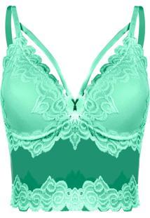 ebaa17c54b Top Outletdri Cropped Alcinha Sutiã Renda Desenhada Decote Bojo Verde