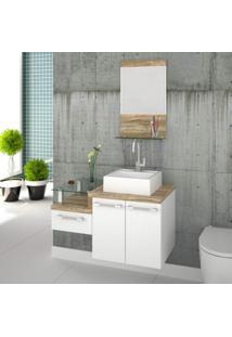 Gabinete Para Banheiro 2 Portas 1 Gaveta Com Cuba E Espelheira Legno 831W Siena Móveis Branco C/Carvalho