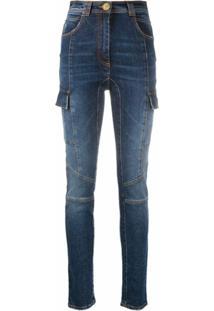 Balmain Calça Jeans Skinny North Com Efeito Desbotado - Azul