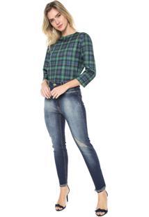 Calça Jeans Lança Perfume Skinny Com Blusa Azul