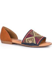 Sandália Rasteira Dakota Bordado Multicolor
