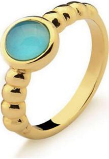 Anel Infantil Solitário Agata Azul Pedra Natural Di Capri Semi Jóias X Ouro Incolor - Tricae