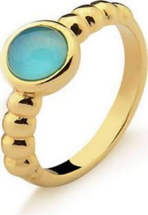 Anel Infantil Solitário Agata Azul Pedra Natural Di Capri Semi Jóias X Ouro Incolor