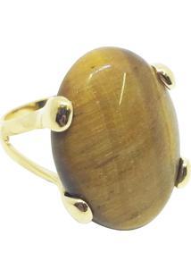 Anel Pedra Natural Oval Semijoia Banho De Ouro 18K Olho De Tigre