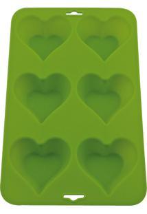 Forma De Silicone Verde Para 6 Cupcakes Coração