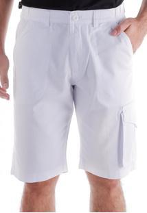 Bermuda 664 Sarja Branca Traymon Modelagem Regular