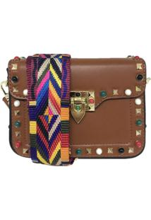 Bolsa Casual Transversal Alça Colorida Sys Fashion 831617 Marrom