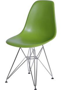 Cadeira Eames Polipropileno Verde Fosco Base Cromada