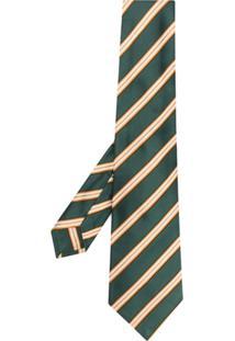 Kiton Gravata De Seda Listrada - Green