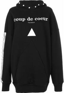 Coup De Coeur Blusa De Moletom Com Logo E Capuz - Preto