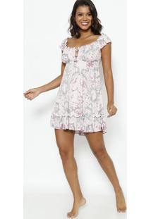 Camisola Com Laços & Recortes Vazados Com Lycra®- Rosa Cfruit De La Passion