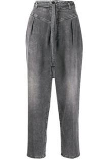 Pinko Calça Jeans Cropped Cintura Alta Com Cinto - Cinza