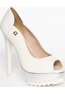 ff0759c88b Peep Toe Branco Verniz feminino
