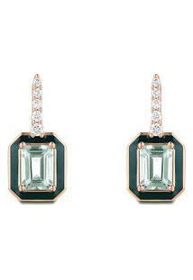 Brinco Policroma Ouro Rosé Quartzo Verde E Diamantes Médio