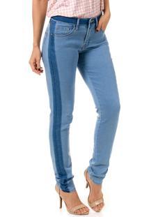 Calça Jeans Bloom Skinny Detalhe Lateral Lycra Azul