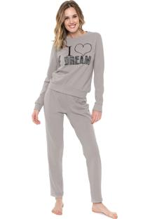 Pijama Malwee Liberta I Love Dream Cinza
