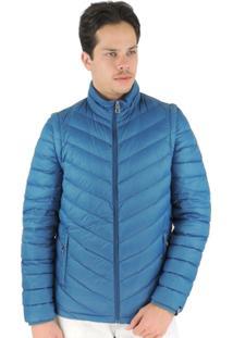 Jaqueta Masculina 2 Em 1 (Jaqueta E Colete) De Pluma Ultralight Alpine - Masculino-Azul