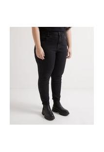 Calça Skinny Jeans Super Alta Enviesada Curve & Plus Size   Ashua Curve E Plus Size   Preto   48