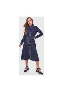 Vestido Chemise Polo Ralph Lauren Midi Botões Azul-Marinho