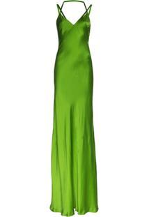 Haider Ackermann Vestido De Festa De Seda Com Alças Finas - Verde