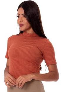 Blusa Miss Misses Gola Alta Feminina - Feminino-Terracota